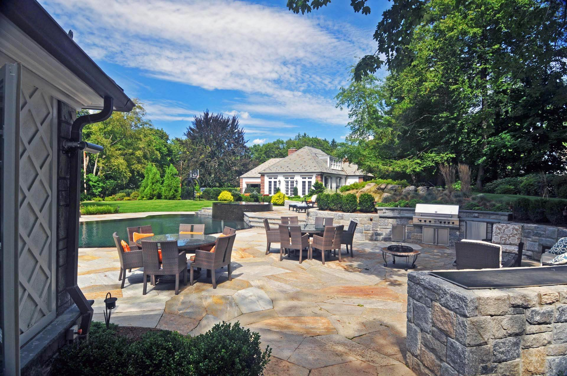 Pool with cabana and outdoor kitchen sean jancski for Pool with outdoor kitchen